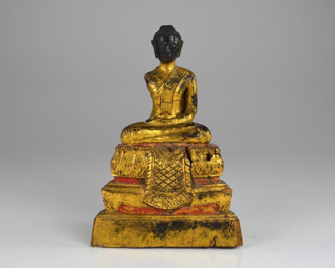 CHINESE GILT WOOD CARVED SEATED BUDDHA