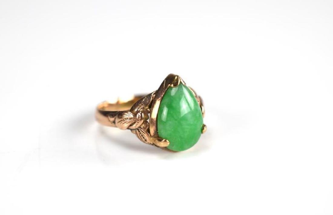 14k yellow gold and jadeite ring