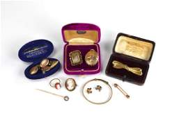 Lot of antique low karat and gold-filled jewellery