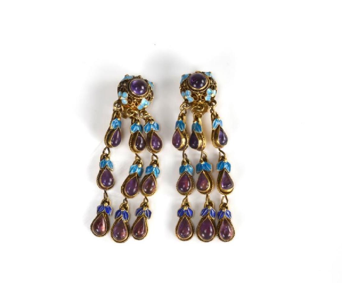 Pair of Chinese export earrings