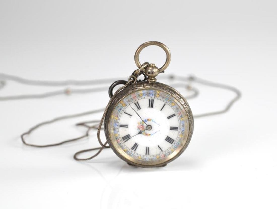English silver lady's pocket watch & silver chain