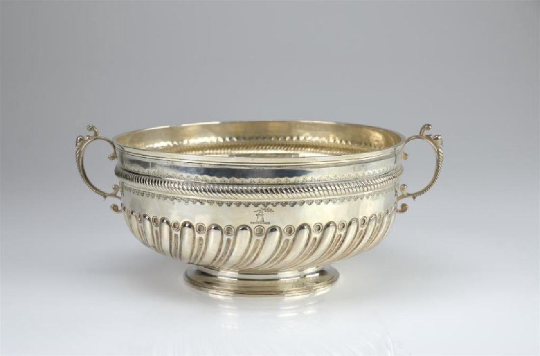 Late Victorian silver presentation center bowl
