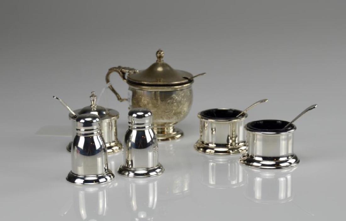 Birks silver condiment set w/ another mustard pot