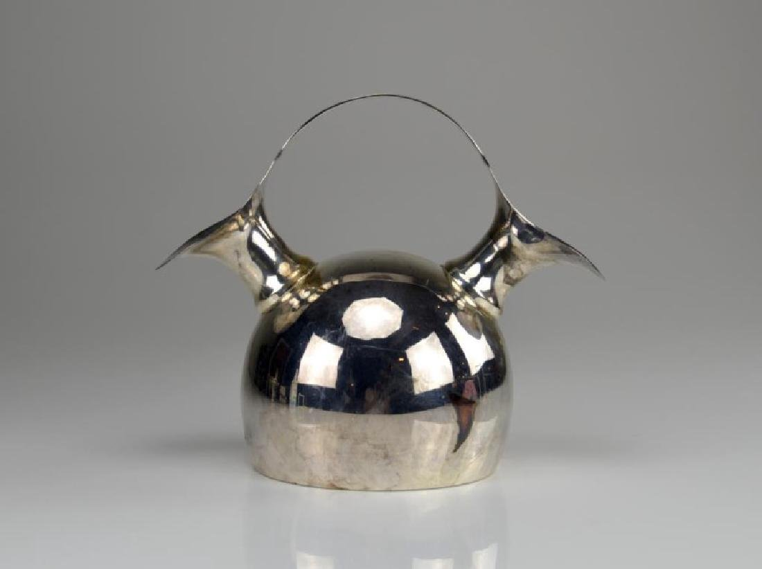 Mexican silver plate double spouted jug