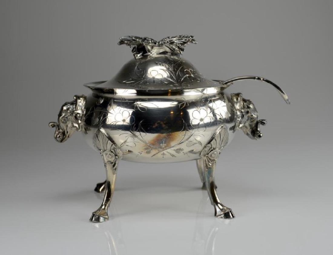 Victorian silver plate tureen with Sheffield ladle