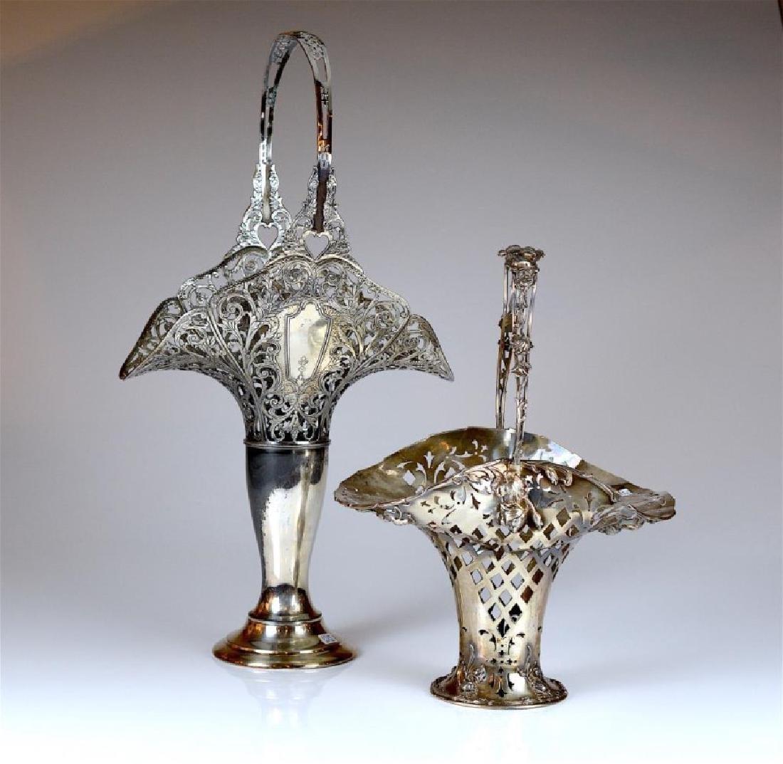 Two Art Nouveau silver plated bride baskets