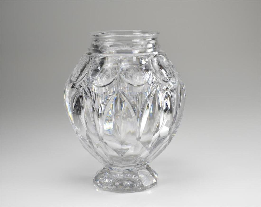 Art Deco cut glass bulbous vase