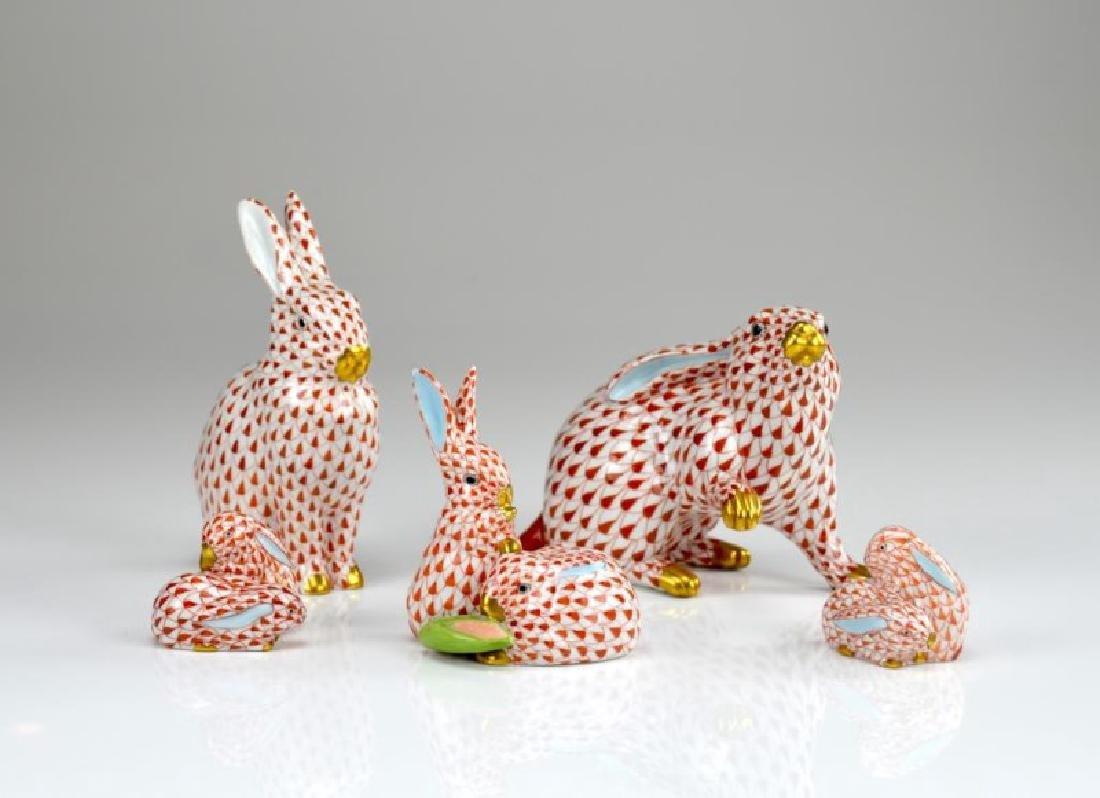 Five Herend porcelain bunny figures