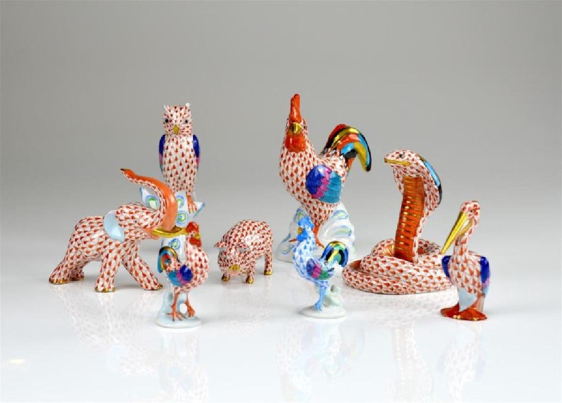 Eight Herend porcelain animal figures