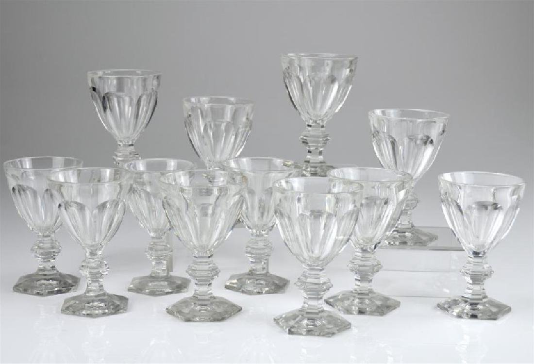 Twelve 19th C cut glass wine goblets