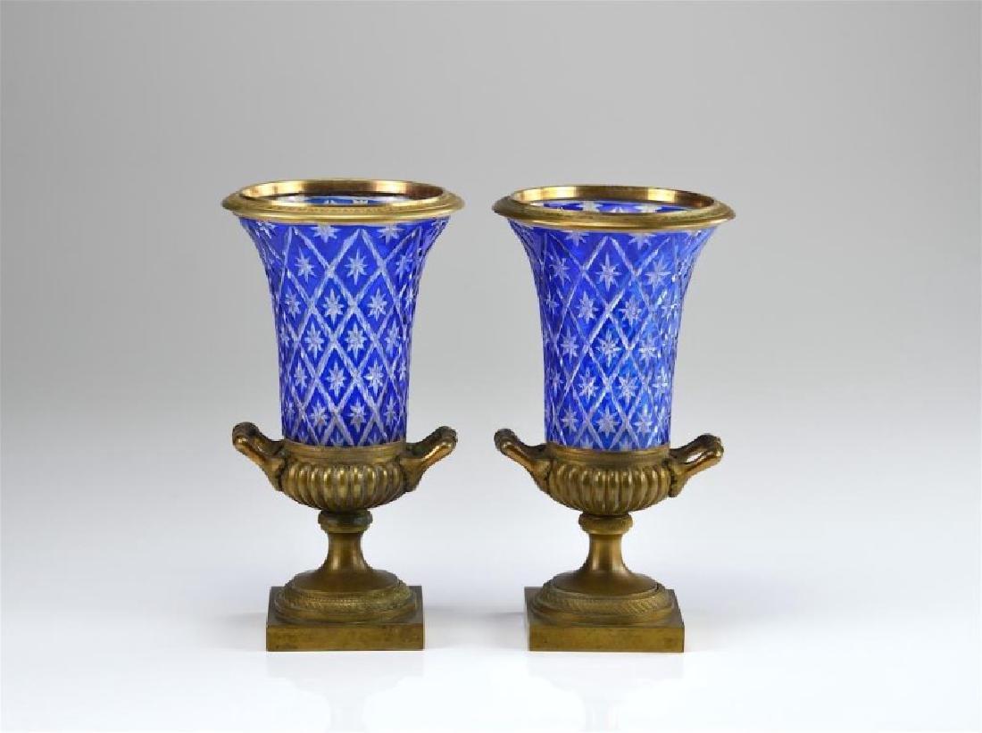 Pr of Austrian flashed glass urns w/ bronze mounts