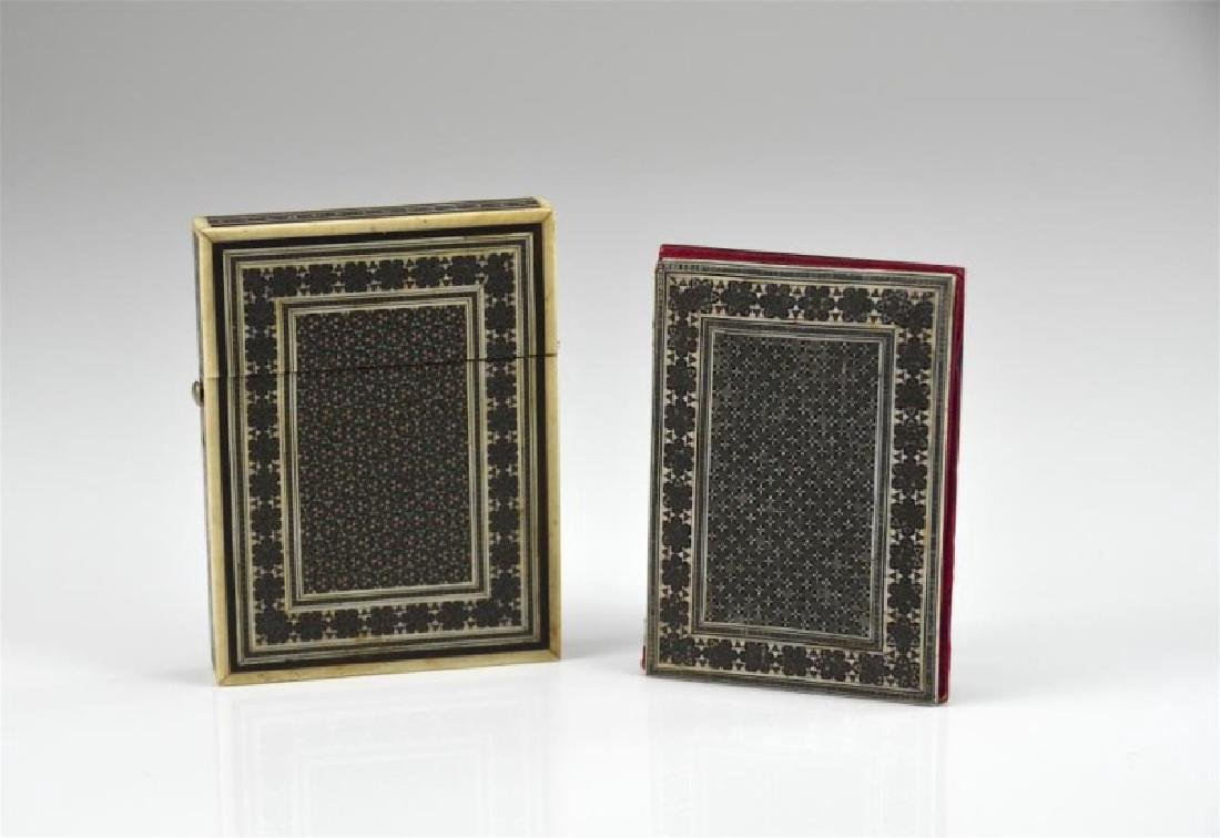 19th C Persian inlay card case with two plaques
