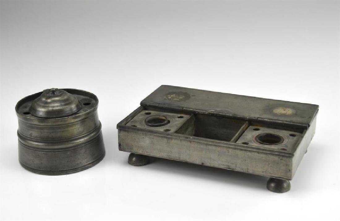 18th C early pewter inkstand and a large inkwell
