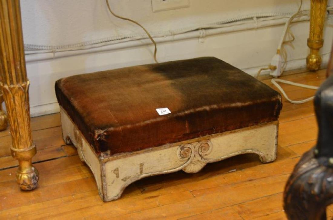 An early carved & painted small footstool