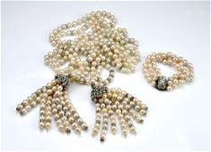 Vintage pearl lariat necklace & bracelet