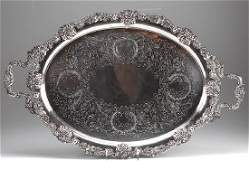English silverplated two handled tray