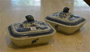 Pair of Chinese export porcelain covered tureens