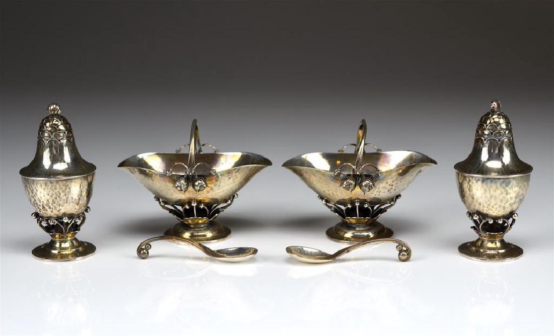 Georg Jensen silver Rosebud salt & pepper sets