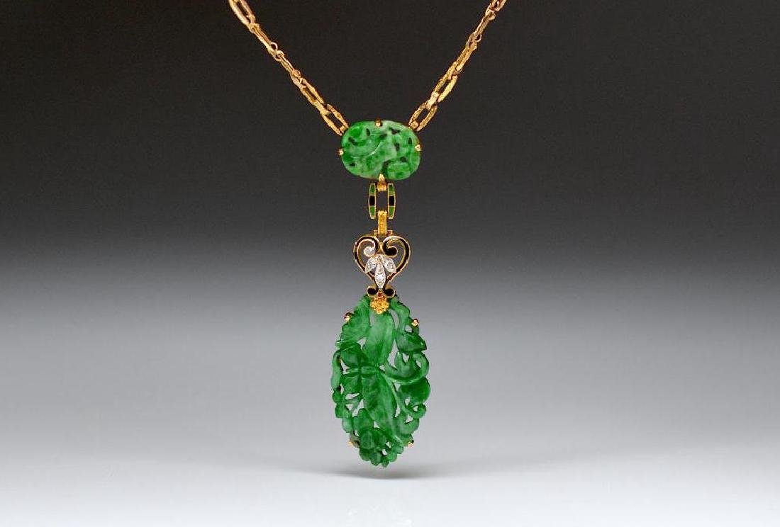 ART DECO JADEITE AND GOLD NECKLACE
