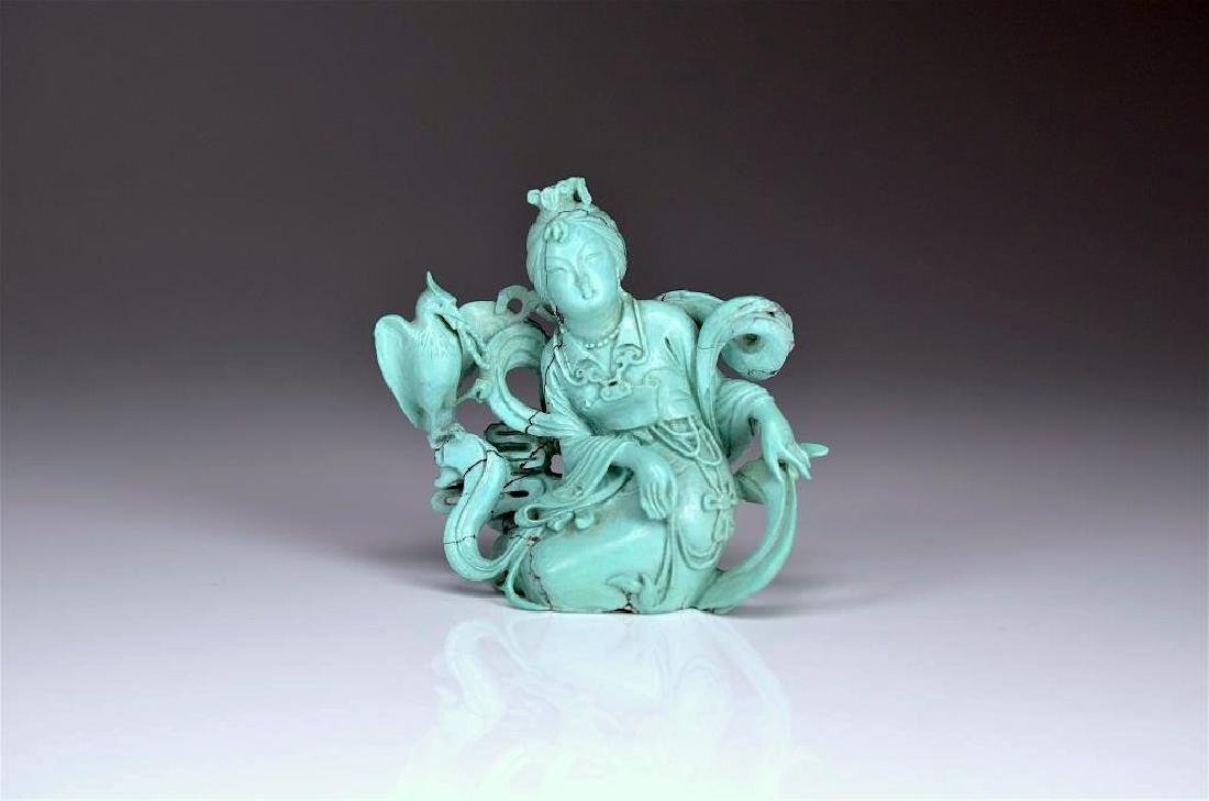 CHINESE CARVED TURQUOISE FIGURE