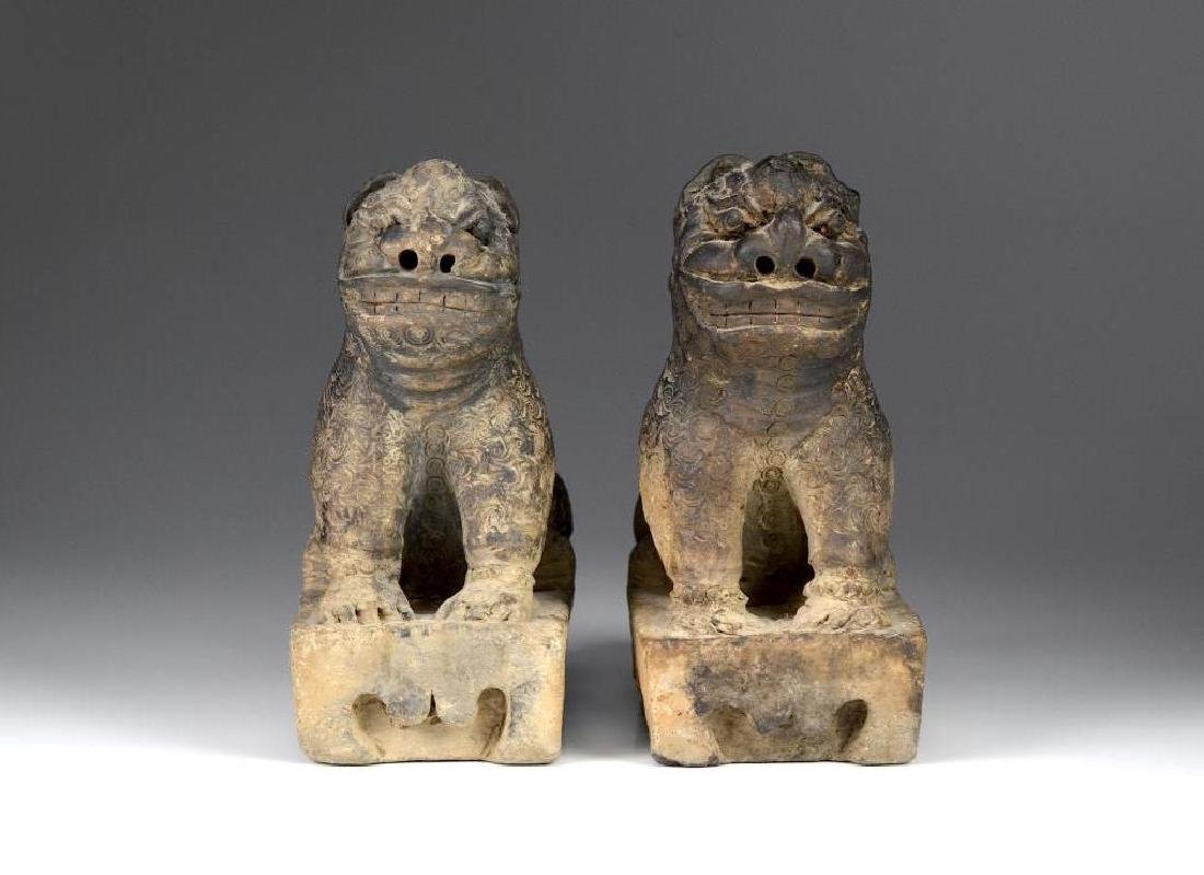 PAIR OF CHINESE CLAY LION ROOF BRICK TILES
