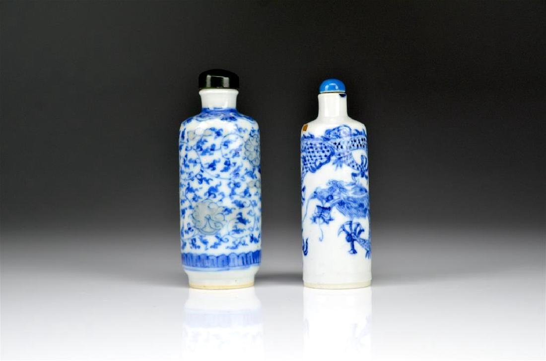 TWO CHINESE BLUE & WHITE PORCELAIN SNUFF BOTTLES