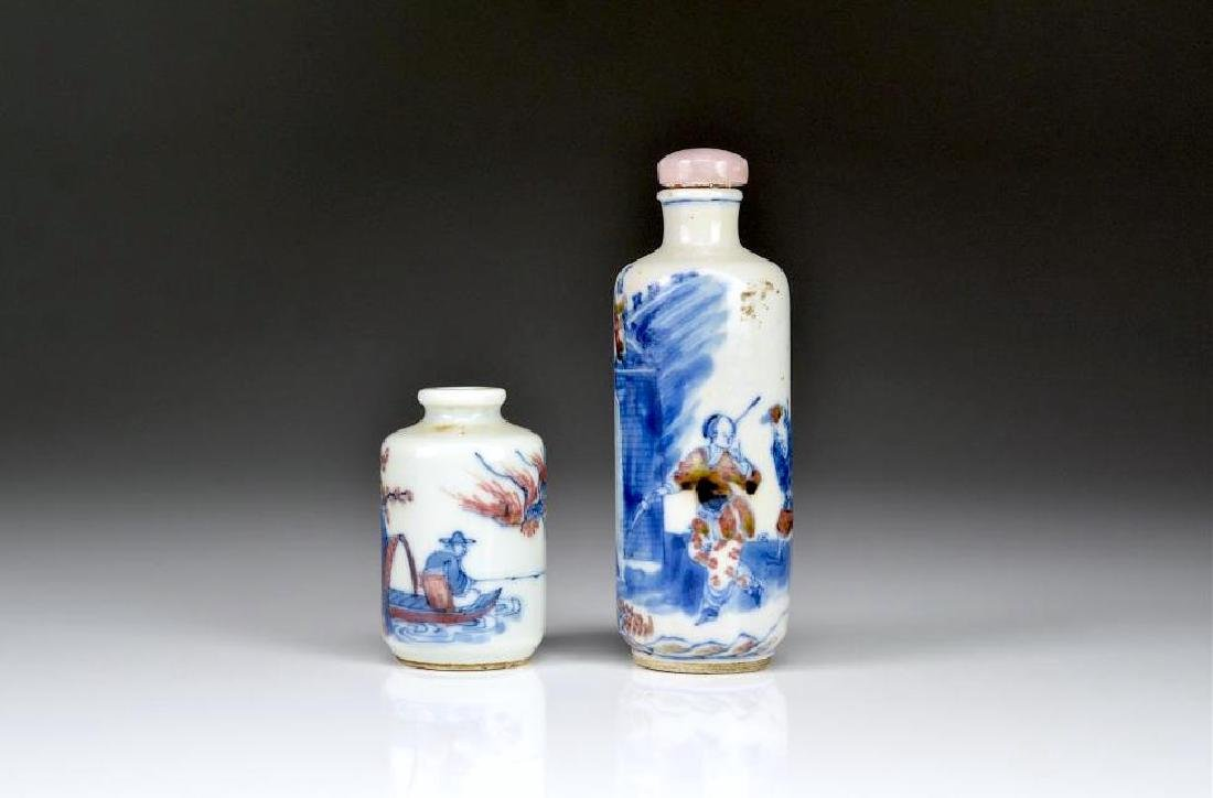 TWO RED, BLUE & WHITE PORCELAIN SNUFF BOTTLES