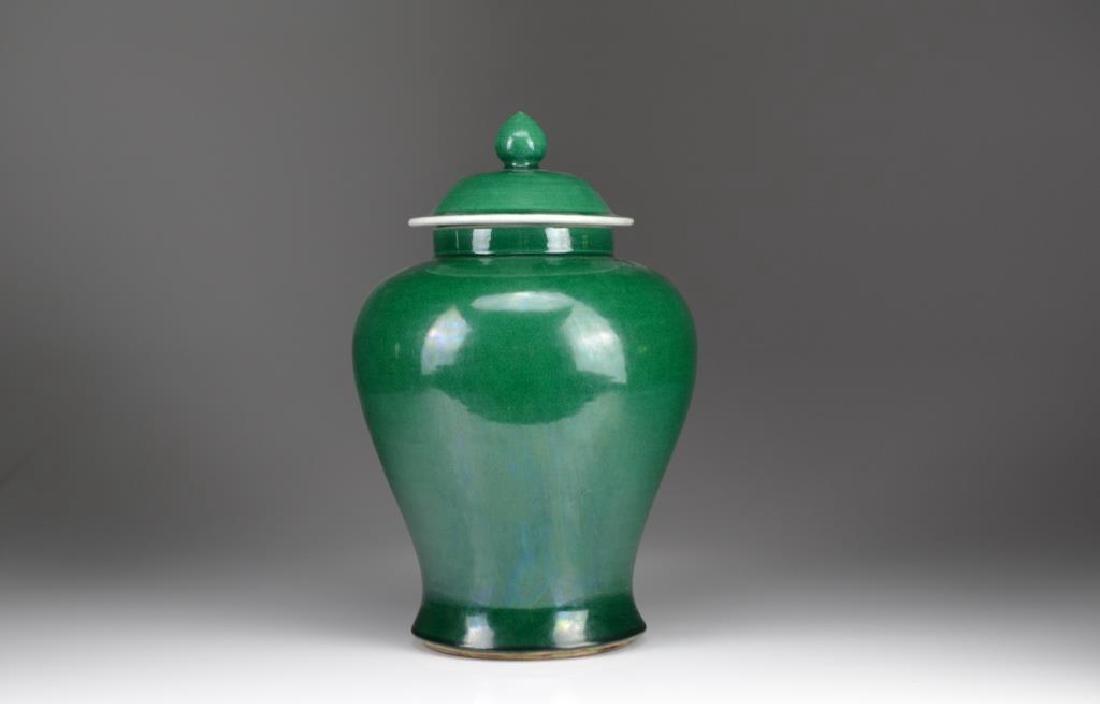 APPLE GREEN GLAZED PORCELAIN COVERED JAR