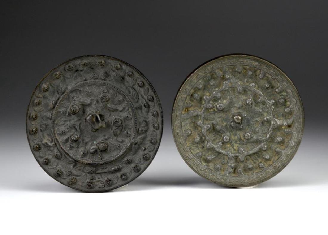 TWO CHINESE TANG DYNASTY STYLE BRONZE HAND MIRRORS