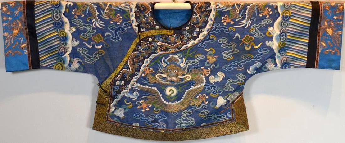 CHINESE SILK EMBROIDERED CHILD'S DRAGON ROBE