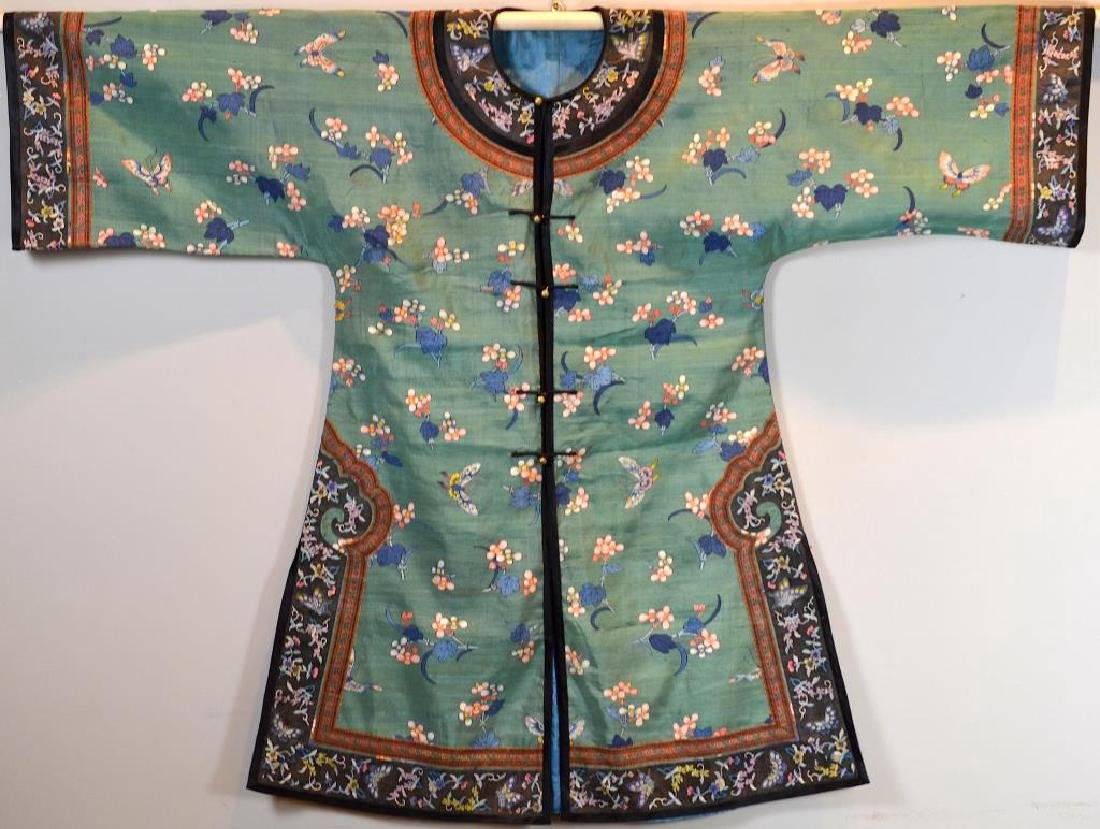 CHINESE SILK EMBROIDERED GREEN GROUND LADY'S ROBE