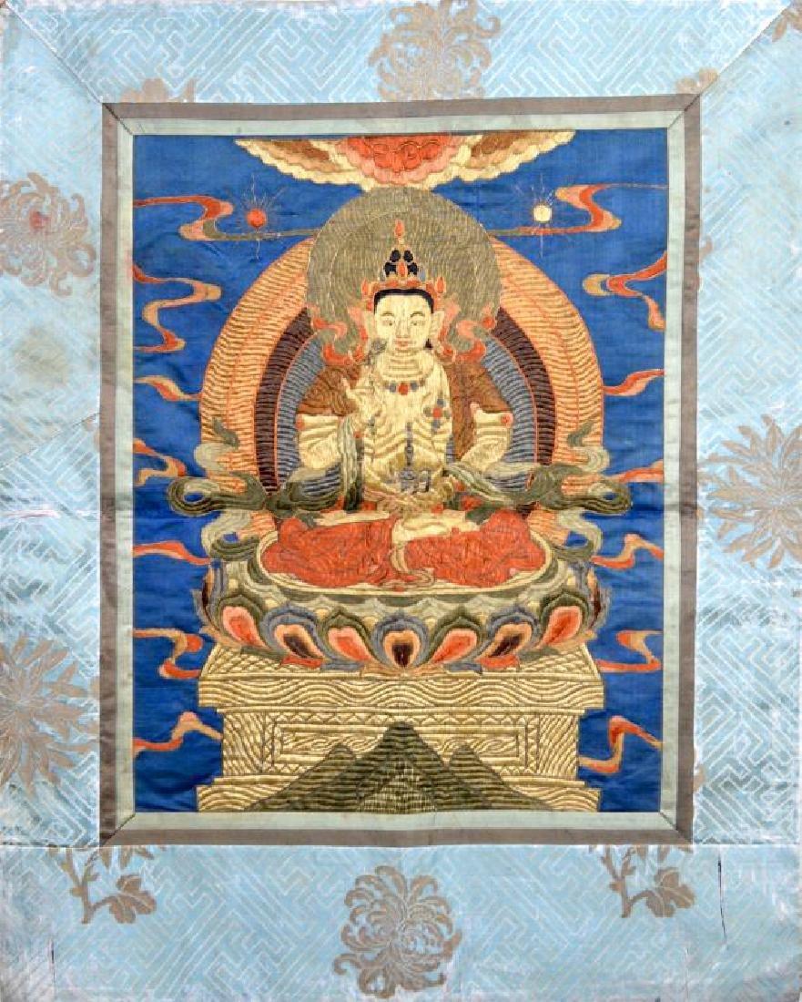 CHINESE SILK EMBROIDERED BUDDHIST THANGKA