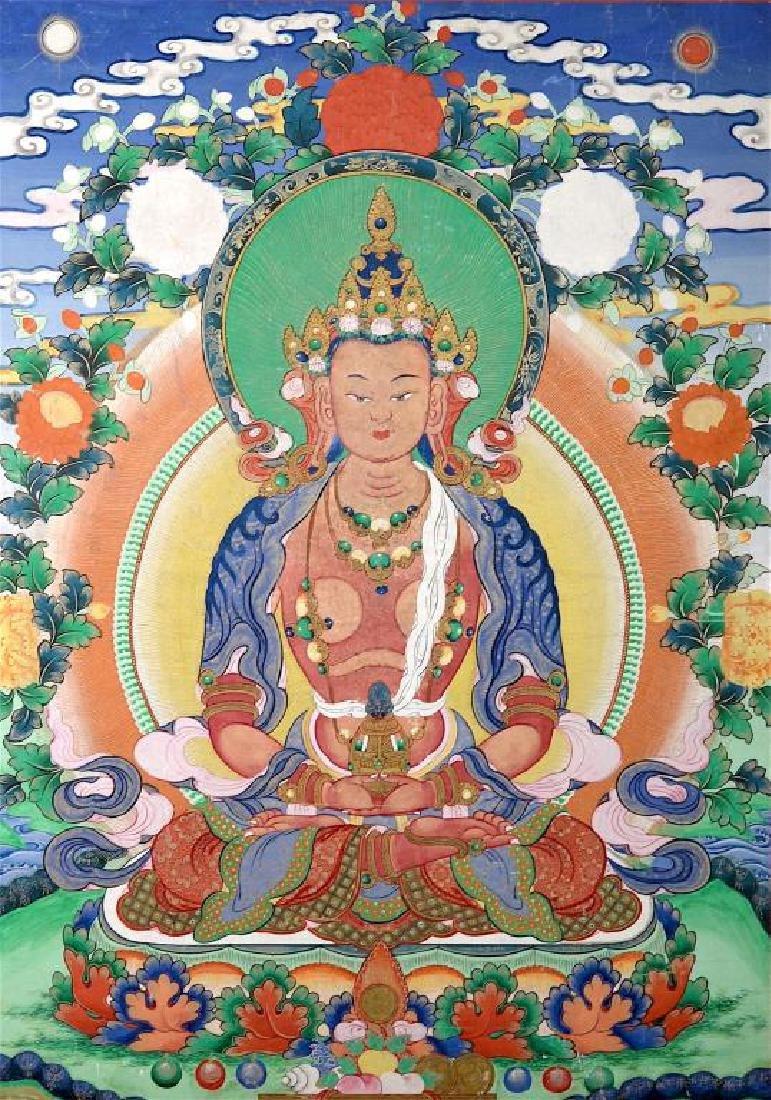 TIBETAN CHINESE THANGKA OF AMIDA  BUDDHA