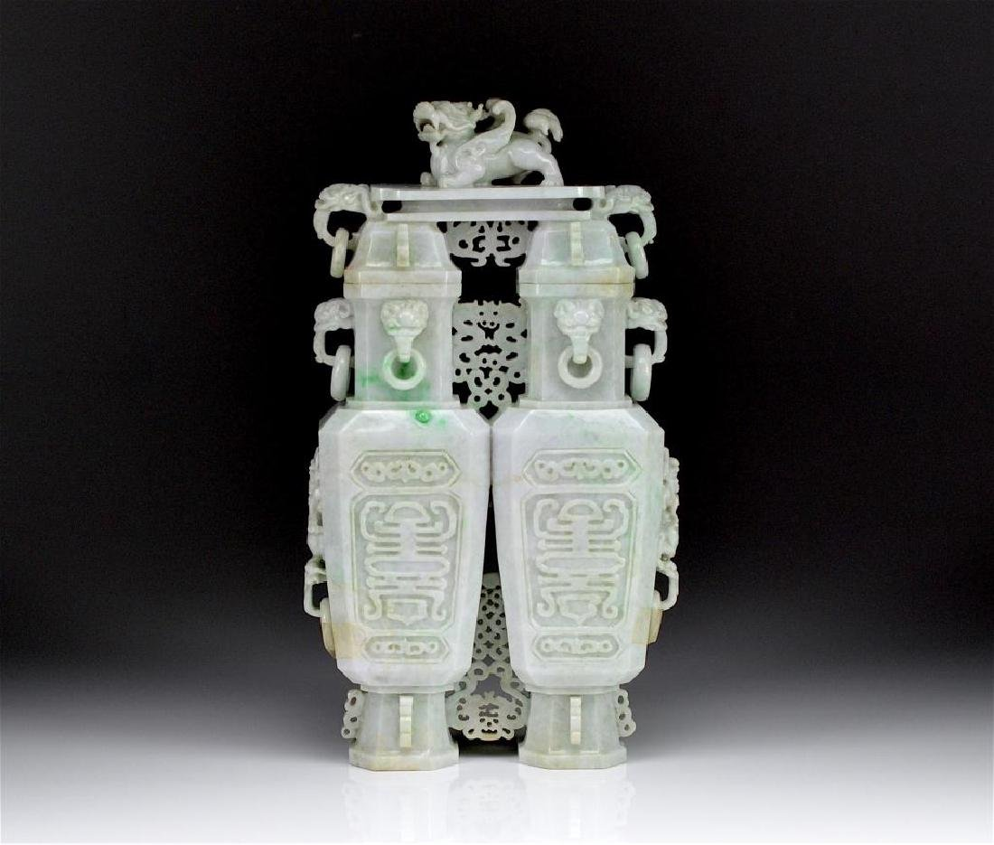 CHINESE CARVED JADEITE DOUBLE ORNAMENTAL VASE