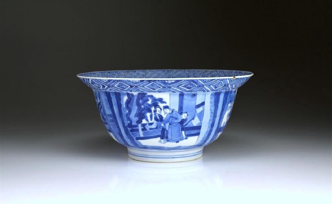 CHINESE KANGXI BLUE & WHITE PORCELAIN BOWL