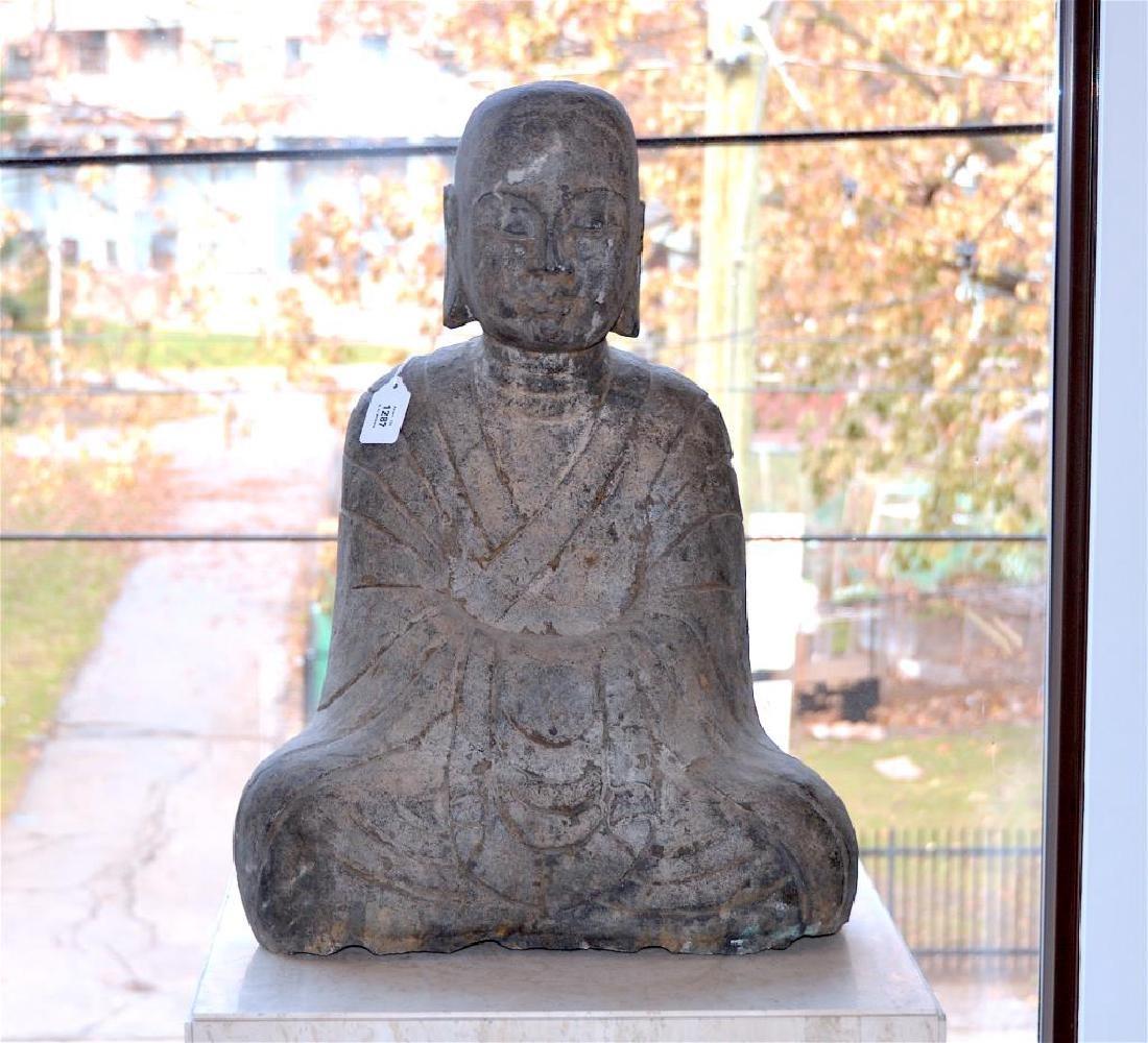 CHINESE STONE CARVED SEATED BUDDHA