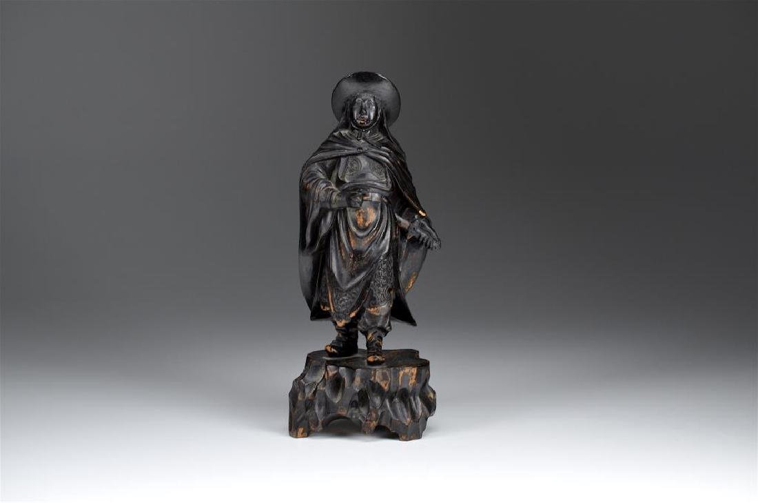 CHINESE LACQUERED BOXWOOD FIGURE