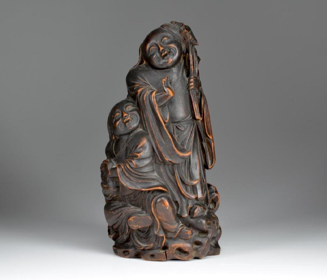 CHINESE CARVED BAMBOO SCULPTURE OF TWO FIGURES
