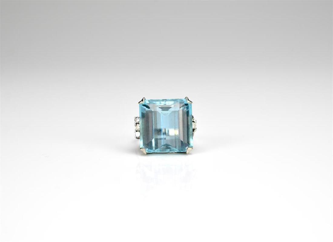 Platinum, aquamarine, & diamond cocktail ring