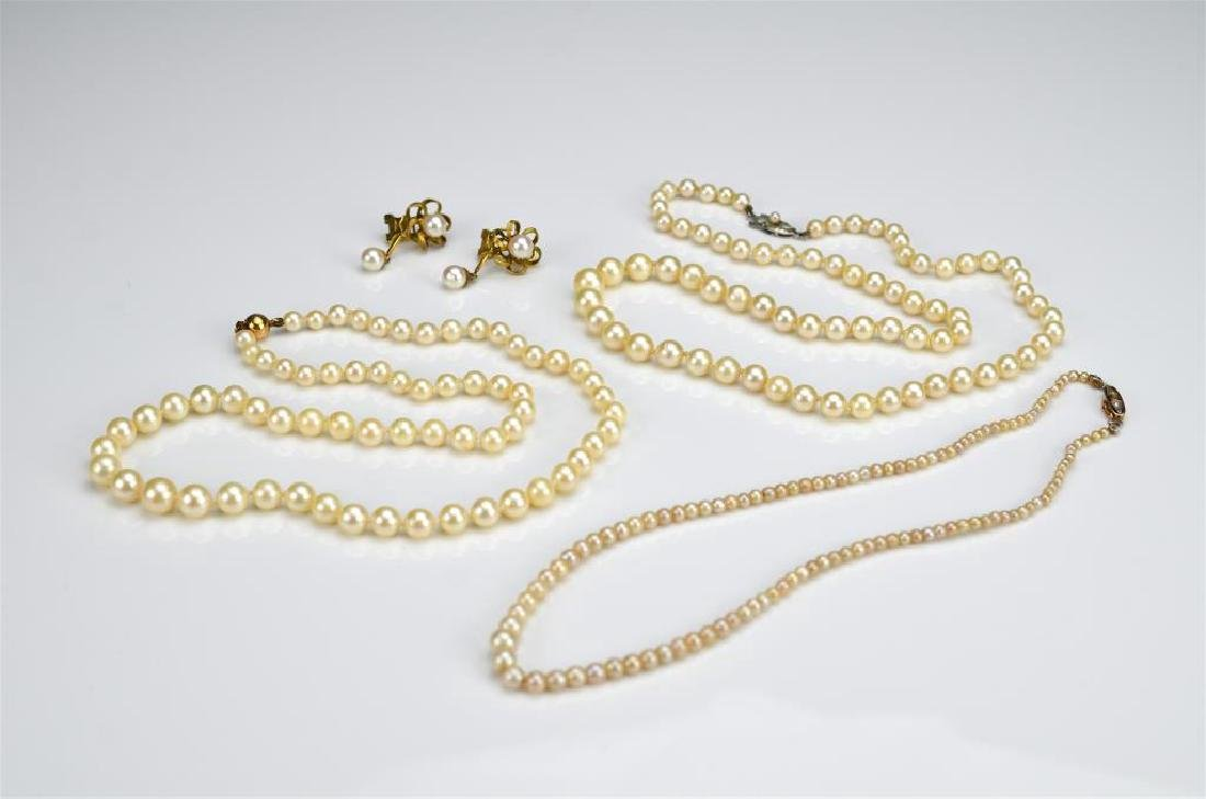Three pearl necklaces & gold and pearl earrings
