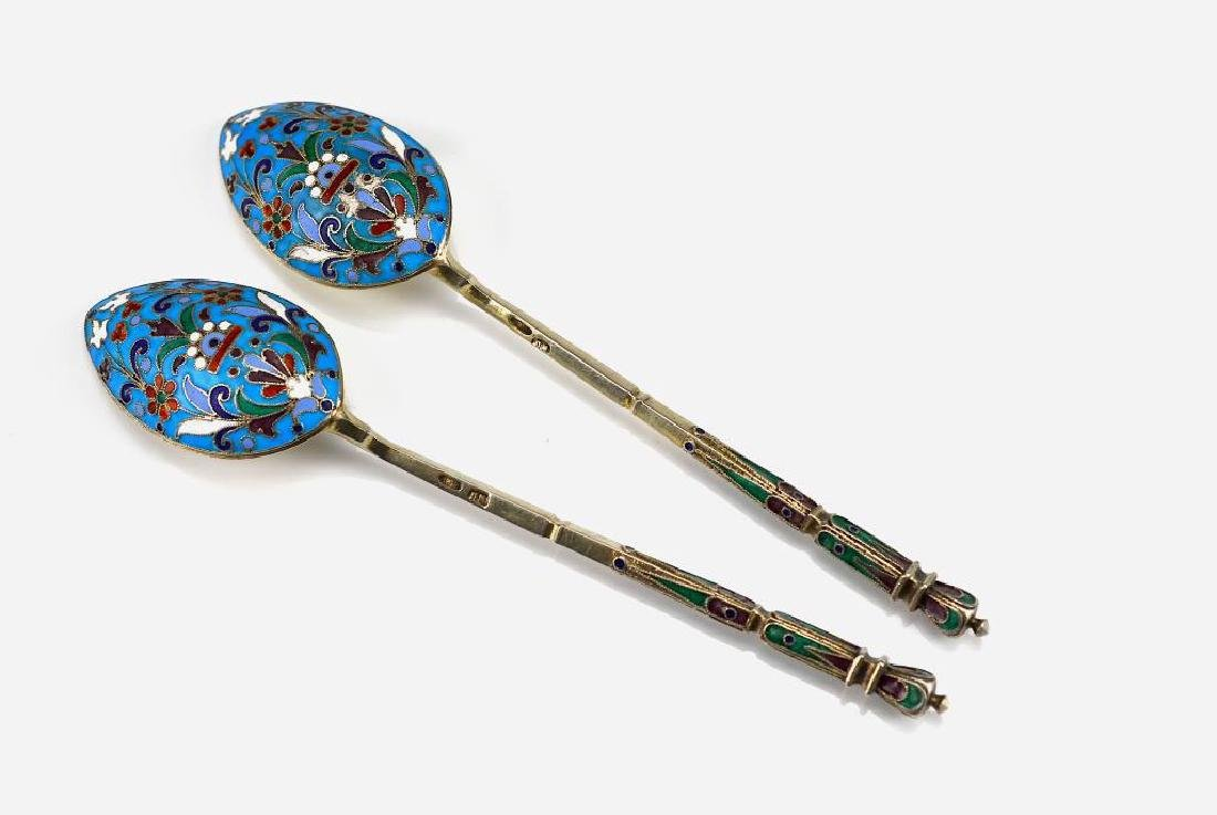 Pair of Russian silver and enamel spoons