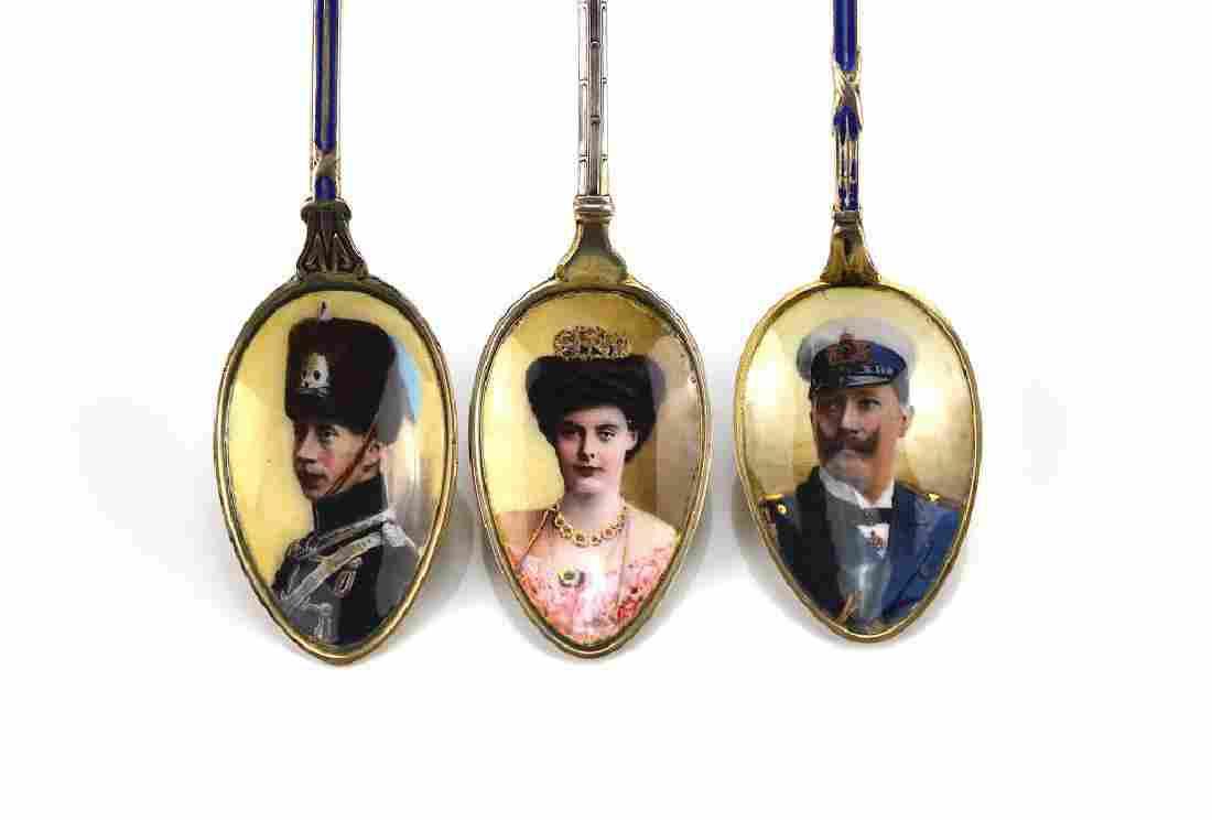 Three German gilt silver & enamel souvenir spoons