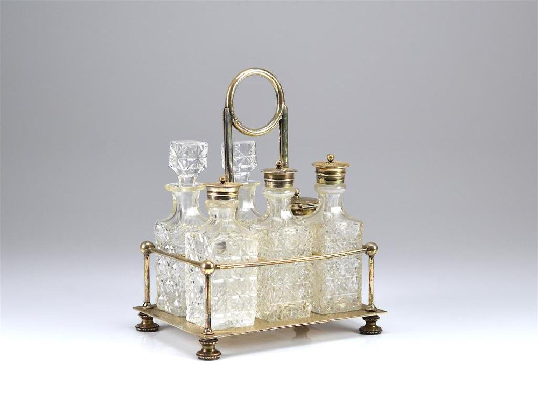Mappin & Webb silver plate six bottle cruet set