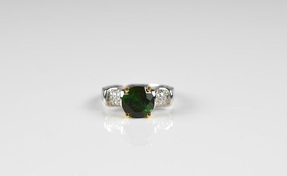 Gold, diamond, and tourmaline ring