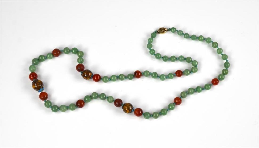 Jadeite, carnelian, & tiger's eye beaded necklace
