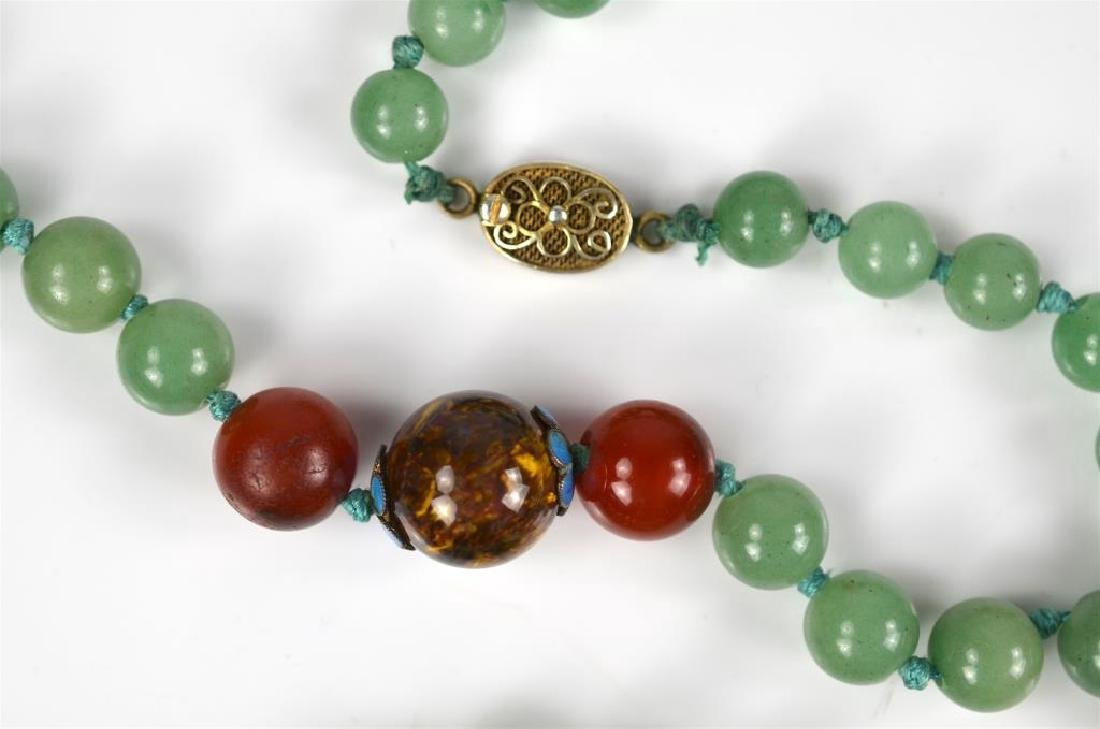 Jadeite, carnelian, & tiger's eye beaded necklace - 2