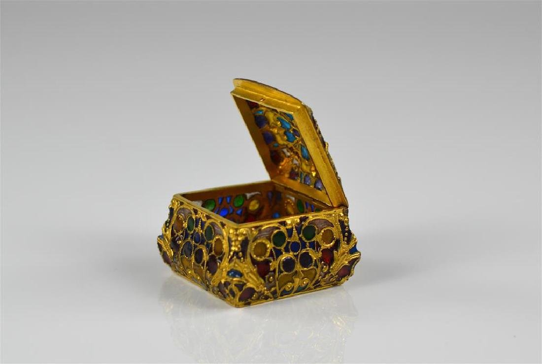 A petite gilt bronze and plique a jour box