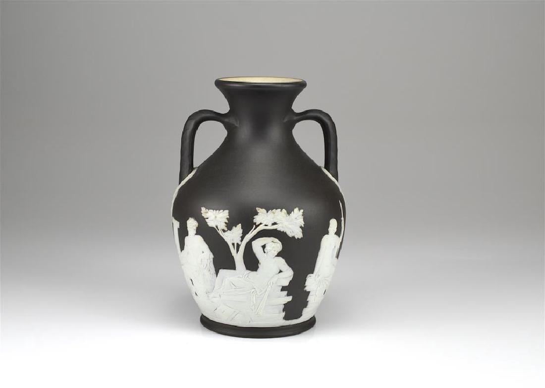 Wedgwood black basalt Jasperware amphora vase