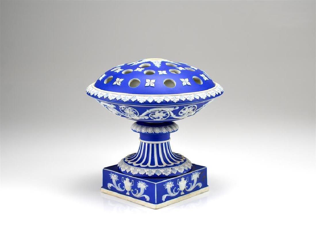 Wedgwood cobalt blue Jasperware potpourri