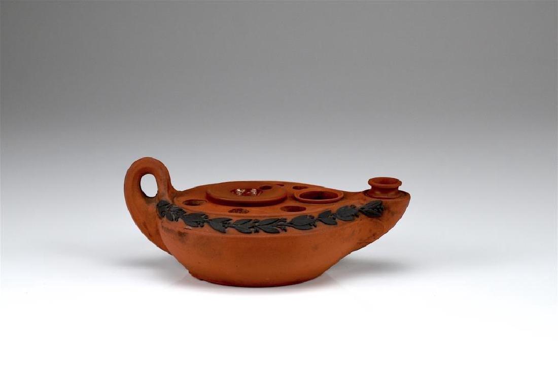 Wedgwood terracotta Jasperware ink well